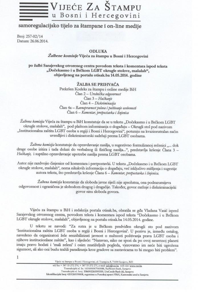 Odluka ZK VZSuBiH, SOC - otisak