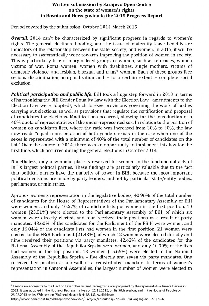 Written submission_2015 Progress Report_women's rights_Sarajevo Open Centre-1